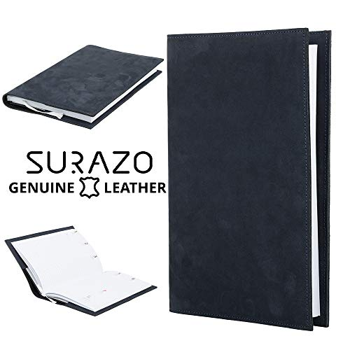 SURAZO Premium Vintage Ledertasche Schutzhülle Kalender mit ledernem Umschlag aus Echtesleder Farbe Nubuk Blau