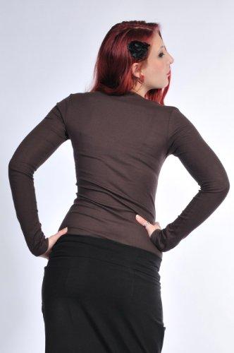 Haut à manches longues / tee shirt manches longues / Chemise imprime Cosma élément de 3Elfen - Ladies Fashion Brun Blanc