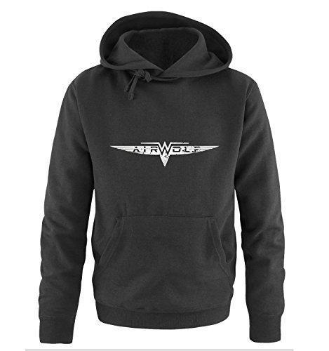 AIRWOLF - LOGO - Herren Hoodie by Comedy Shirts Schwarz / Silber