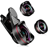 HD Phone Camera Lens: Clip-On Lens Kits,198 Degree HD Fisheye Lens +0.6X Wide Angle Lens +15X Macro Lens with 3 Separate Lens for iPhone Samsung Huawei and Other Smartphone, No distortion (3 in 1)