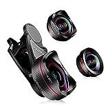 2cd9b4bbe4b lente de la cámara del teléfono: lente ojo de pez de 198 grados HD+lente de gran  angular 0.6X + lente macro 15X con 3 lentes separados para iPhone Samsung  ...