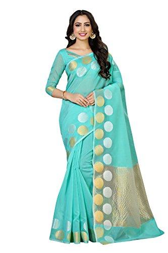 Mimosa By Kupinda Cotton Saree Kanjivaram Style Color: Turquoise (4063-AB-7099-RMA)