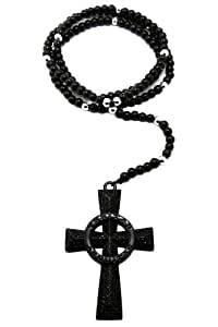 New Iced Out Jet Black Saints Cross w/6mm Rosary Necklace XC288BP