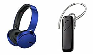MIRZA Extra Extra Bass XB450 Headphones & HM1100 Bluetooth Headset for HTC DESIRE X(Extra Extra Bass XB450 Headphones,With MIC,Extra Bass,Headset,Sports Headset,Wired Headset & HM1100 Bluetooth Headset)