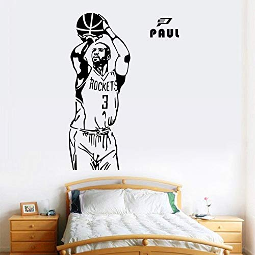 jiushizq DIY Tapete Sport Wandaufkleber Basketball Star Poster Aufkleber Wohnkultur Wandbild Wandtattoo Schwarz 110x43 cm