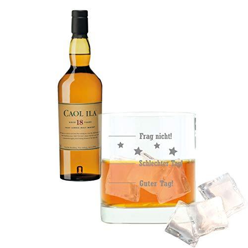 Caol ila 647695 - set di 2 bicchieri da whisky, 18 anni/anni, per single malt, whisky, scotch, alcol, bevande di alcool, 43%, 700 ml, regalo per la festa del papà