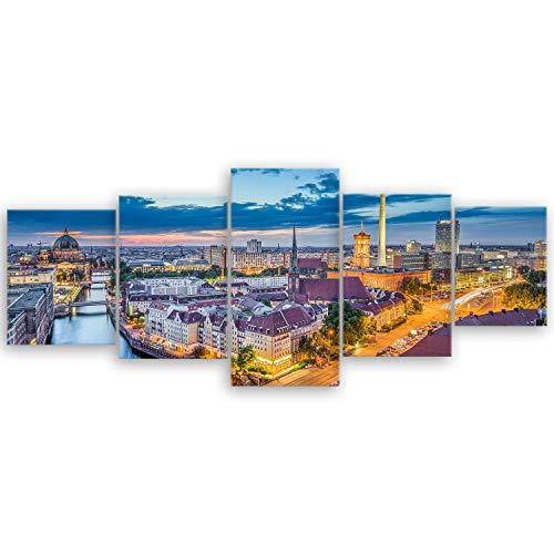 ge Bildet® hochwertiges Leinwandbild XXL - Berlin Skyline - Deutschland - 200 x 80 cm mehrteilig (5 teilig)