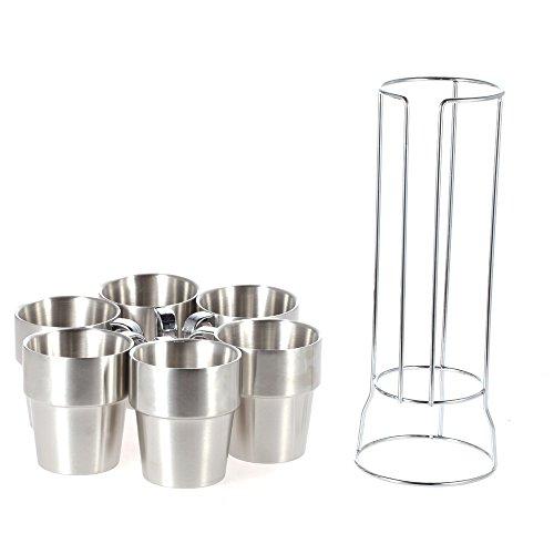Walmeck Homgeek 6St Doppelwandige Kaffeetasse Set Teetbecher aus Edelstahl mit Ständer Vertikal-Typ