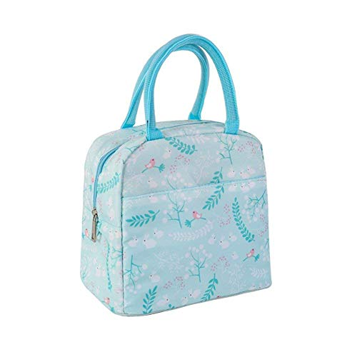 Youth union borse frigo fresco borsa rosa a doppio scomparto pranzo kit riutilizzabile pranzo tote isolata scatola di pranzo per i bambini, ragazza, donne (foglie blu)