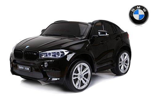 RIRICAR Elektroauto Kinder BMW X6 M, Schwarz Lackiert, 2 x 120W, Zwei Sitze in Leder, Original lizenziert, Batteriebetrieben, öffnende Türen, Elektrische Bremse, 2X Motor
