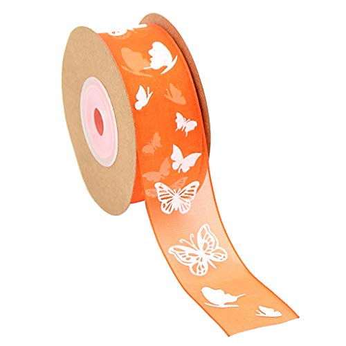 Florist Wire - 4 Rolls 10 Meters Butterfly Printed Sheer Chiffon Ribbon Trim Gift Wrapping Decoration 25mm Wide - Plastic Trims Black Lace Neck 50mm Love Floristry Florist Flower Assortm -