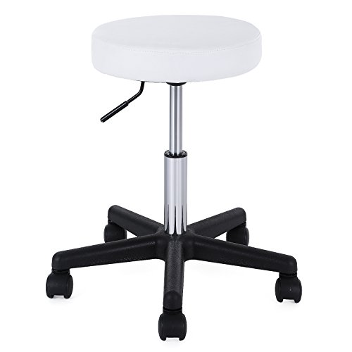 SONGMICS Round Swivel Bar office Clinic Massage Stool Soft Padded Chair on wheels White LJB61WUK