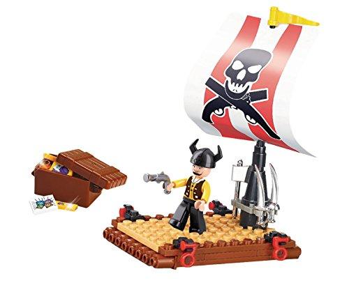 Funstones - Bausteine Piraten Floß + Figur Pirat + Schatz Truhe Baustein Bausatz Set Bau Steine