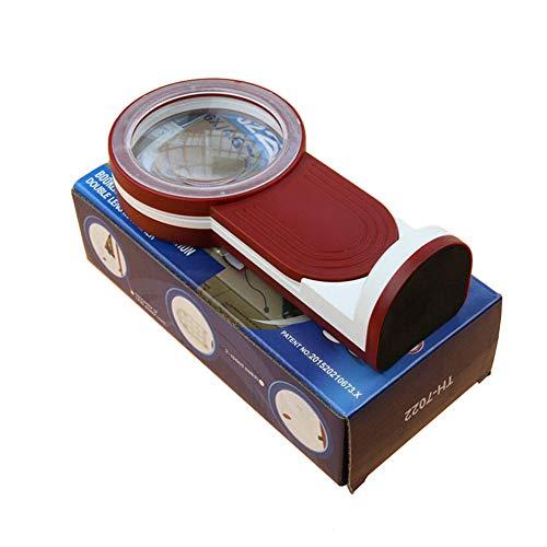 WHYTT Lupa de alumbrado de Escritorio 180 Grados Plegable Diseño Lupa con Aumento 3X 4.5X 6X 17 Luces de LED Lupa de Lectura portátil de Carga USB Rojo 192 * 97 * 55mm