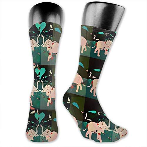 Elephant Duo Dark Greens Basic Repeat Unisex Athletic Crew Socks Running Gym Compression Foot (Duo Kostüm Für Freunde)