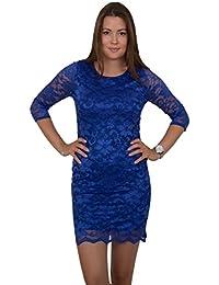 GIOVANI & RICCHI Damen Kleid Spitzenkleid One Size Einheits Groesse Mix Rosa, Blau