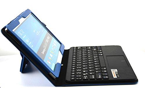 MQ - Galaxy TabPRO 10.1 Bluetooth Tastatur Tasche mit Multifunktions-Touchpad | Hülle mit Bluetooth Tastatur und integriertem Touchpad für Samsung Galaxy Tab Pro 10.1 WiFi T520, Samsung Galaxy Tab Pro 10.1 LTE T525 | Layout Deutsch | Blau