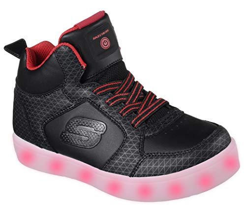Skechers Energy Lights-Tarvos, Entrenadores para Niños, Negro (Black/Red), 32 EU