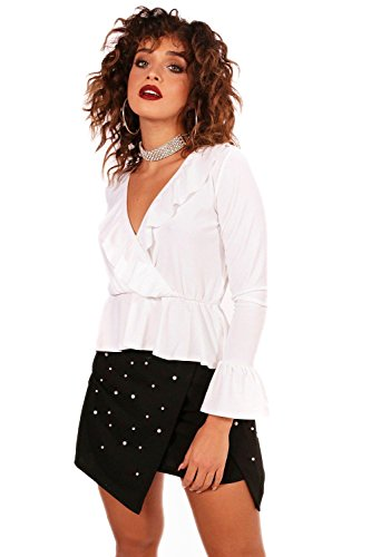 Weiß Damen Riley Wrap Front Ruffle Hem Long Sleeve Top - 14 (Ruffle Top Wrap)