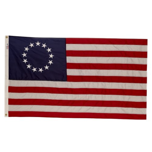 Valley Forge, Amerikanische Flagge, Nylon Perma-NYL, 91,4 x 152,4 cm, 100% Made in USA, Betsy Ross 13-Star koloniale US-Flagge, genähte Streifen, bestickte Sterne -