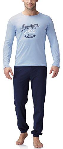 Lange Muster Warme Baumwolle (Timone Herren Schlafanzug 1011 (Muster-F2A, XL))