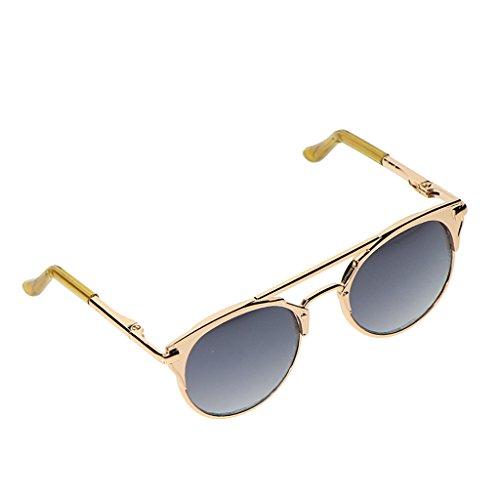 Sharplace Fashion Katzenaugen Puppen Sonnenbrille Brille mit Metallrahmen Für 1/6 Blythe Puppen Dress up Zubehör - Graue Linse