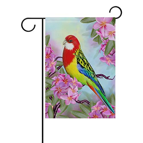 ASKYE Red Parrot On Branch of Frangipani Polyester House Flag Banner Twin Sides, Tropical Hummingbird Flower Leaves Garden Flags for Anniversary Yard Outdoor Decoration(Size: 28inch W X 40inch H) -