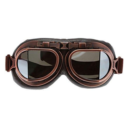 Motorradbrille Helm Steampunk Vintage Schutzbrille für Outdoor Sport Motocross - Silber Glas