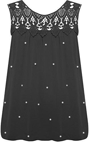 Chiffon Juwel (WearAll - Damen Übergröße Ärmellos Perle Juwel Chiffon Liniert Weste Top Damen Bluse Spitze - Schwarz - 46-48)