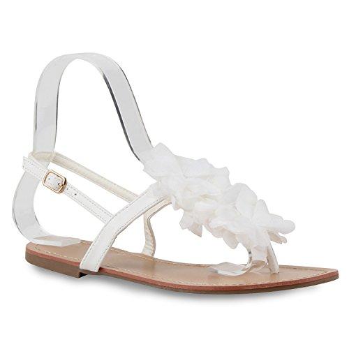 Damen Sandalen Dianetten Blumen Zehentrenner Bequeme Schuhe Weiss Blume