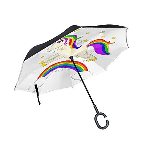 HYJDZKJY Double Layer Inverted Umbrellas Reverse Taschenschirm Unicorn und Rainbow Windproof für Car Rain Outdoor mit C-förmigem Griff