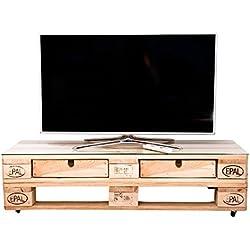 relaxedLiving Mesa de televisión de dimensiones | rústico | con Ruedas | Muebles | Palets
