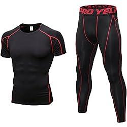 Niksa 2 Piezas Conjunto de Ropa Deportiva para Hombre Camiseta de Compresión Manga Corta y Mallas Largas para Correr Fitness Entrenamiento Yoga Negro Rojo 1053+1060(S)