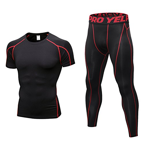 Niksa Mens Fitness Gym Clothes Set 2 Pcs,Exercise Sports Clothing Men Compression Top Tights Leggings for Workout Running Training(L,Black&Red)