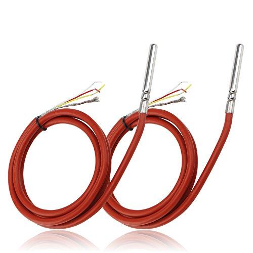 DROK® 2 Packs Capteur de température étanche 1 Mètre Câble blindé en silicone, DS18B20 Capteur de température numérique Capteur de température Acier inoxydable, Détecteur de température Mesure de la température de l'eau de contrôle Sonde