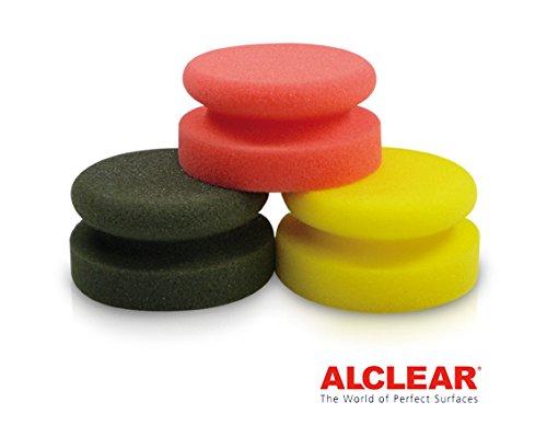 ALCLEAR 579045M 3er Set Schaumstoff Polierpuks, Durchmesser Ø 45x90 mm, anthrazit, gelb, orange