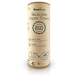 Carta asciugatutto riutilizzabile | Rotolo da cucina eco in Bambù | Multiuso | Resistente, spesso e assorbente | Morbida…