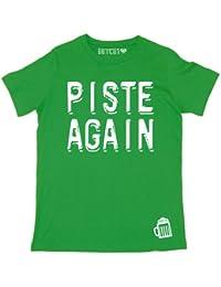 Batch1 'PISTE AGAIN' Men's T-Shirt - Fun Ski & Snowboard Print, Perfect for Apres!
