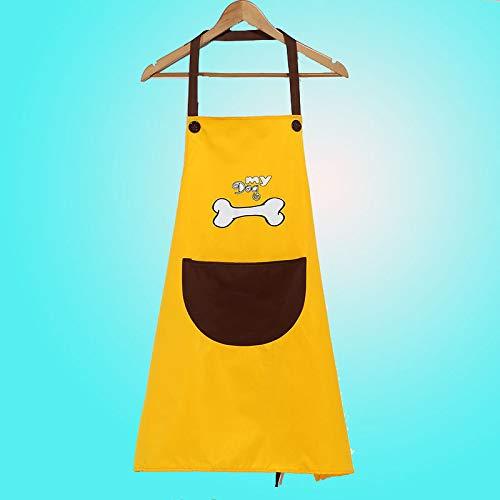 Uhrtimee Schürzen Küchenschürze Küche Wasserdicht Und Ölbeständig Mode Schürze Männer Und Frauen Erwachsene Kleider Anti-Dressing Köche Taille Overall, Knochen, Gelbe Körper Kaffee Tasche -