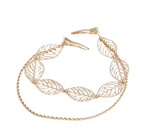 1X Toruiwa Haarreif Hairpin Haarkette Blume Kopfschmuck für Party Hochzeit (Blätter Gold)