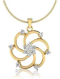 IskiUski The 18Kt Diamond Yellow Gold Pendant Yellow Gold Plated For Women - B078J7HR7P