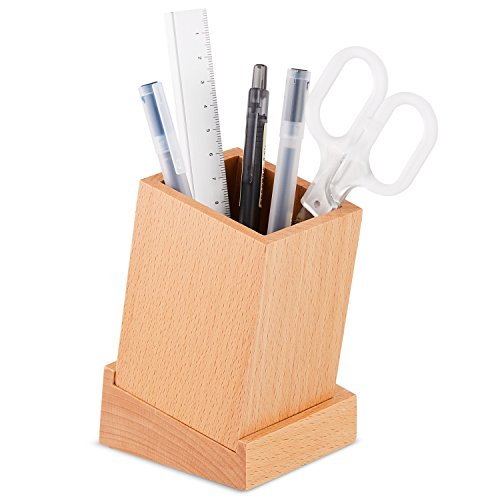 Wooden Desktop Pen Pot Organizer Storage, AhfuLife 100% Eco-Friendly Desktop Beech Pen & Pencil Cup Holder with Tray for Storing Small Stationery Items Like Paperclips, Staple and Notepads