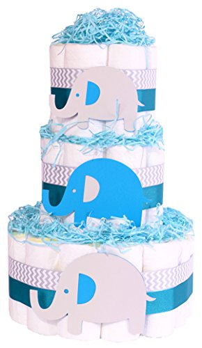 sche Windeltorte–Jungen Chevron Grau behindern Geschenk (Junge Elefant-baby-dusche)