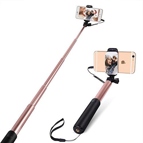 Bastone Selfie [No Bluetooth] allungabile Yarrashop Portatile Autoritratto selfie Sticks con Vastsean specchio Universale per iPhone, Samsung, HUAWEI, Sony, HTC e Altri Smartphone