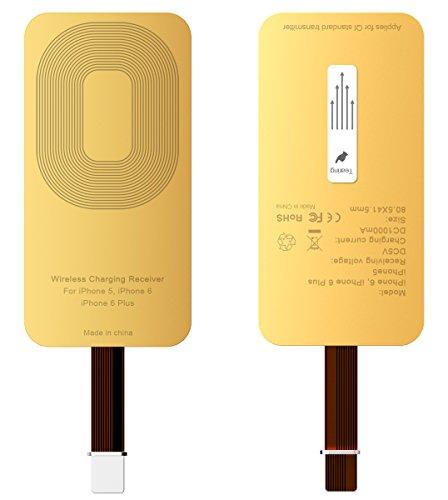 Rhidon Wireless Charging Qi Receiver Empfänger, Sehr dünn Ladegerät Empfänger induktives Laden für Apple iPhone 5/5S/SE/ 6/6 Plus/6S/6S Plus/ 7/7 Plus (Gold)