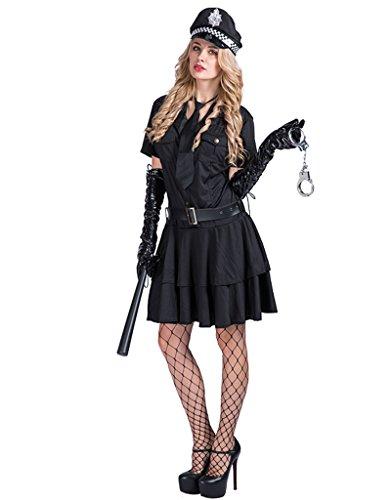 (EraSpooky Damen Sexy Polizei Kostüm Polizistin Uniform Fasching Karneval Kleid)