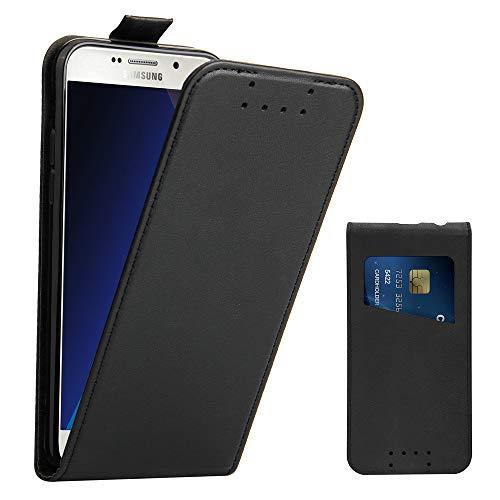 Galaxy A5 2017 Hülle, Supad Leder Tasche für Samsung Galaxy A5 2017 Handyhülle Flip Case Schutzhülle (Schwarz)