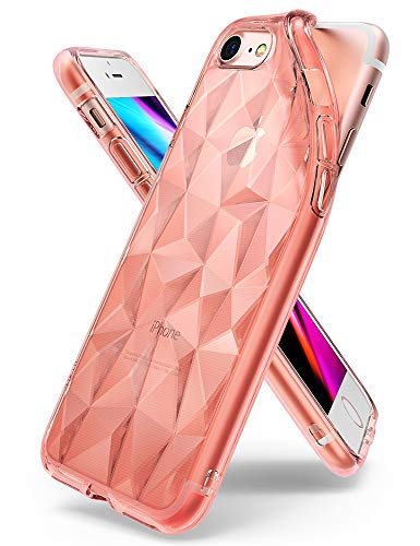 Ringke Hülle für iPhone 7 iPhone 8 [Air Prism] 3D Muster Rosa Weiches Silikon Schutzhülle - Rose Gold Silikon 3d Iphone