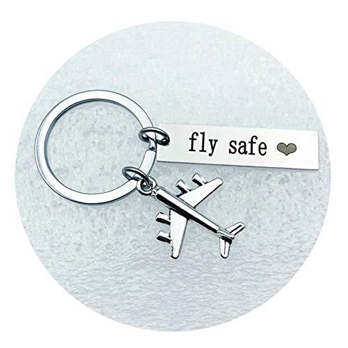 �nger mit Gravur Paare Aircraft Gravur Fly Safe Herz Schlüsselanhänger Edelstahl Schlüsselbund Silber ()