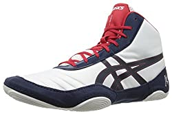 Asics Men's Jb Elite V2.0 Wrestling Shoe, Whitedark Navytrue Red, 12 M Us